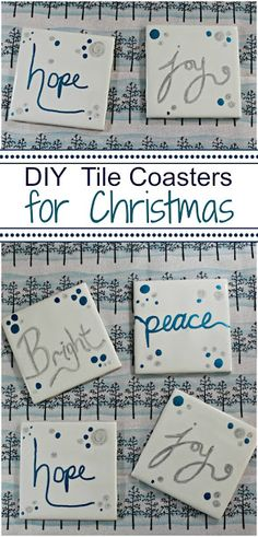"""""""Bright"""", """"Peace"""", """"Hope"""" and """"Joy"""" DIY Tile Coasters in silver & blue - perfect for Christmas!"""
