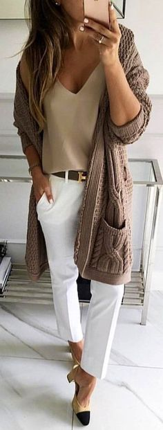 #winter #outfits  brown cardigan and white pants #womenclotheswinter