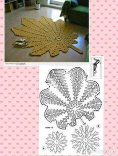 Best 12 Яндекс.Фотки – SkillOfKing.Com Crochet Leaf Patterns, Crochet Leaves, Crochet Snowflakes, Crochet Diagram, Crochet Motif, Crochet Flowers, Knitting Patterns, Crochet Carpet, Crochet Home