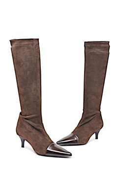 9f79e65bea5b Brown Paris Chocolat Stretch Suede Cap Toe Boots Booties