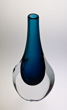 Smalandshyttan Vase art glass aqua teal turquoise