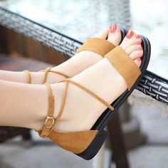 Summer New Luxury Leather Low-heeled Style Shoes Woman Cross Straps Fashion Show Ladies Elegant Flat Women Sandals chaussure Low Heel Sandals, Shoes Heels Wedges, Ankle Strap Heels, Low Heels, Flat Sandals, Pretty Shoes, Cute Shoes, Indian Shoes, Beautiful Sandals