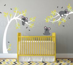 This but with green instead of yellow leaves.  Koala Bear Wall Decal Koala and Branch Wall by InAnInstantArt