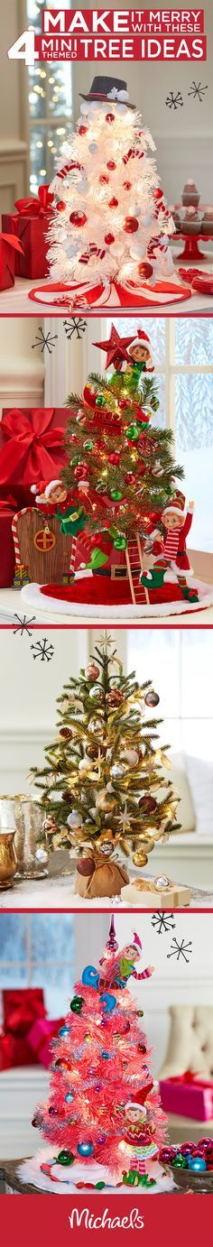 Mini trees are perfect for tabletops, entryways and even the kids room! Michaels has tiny trees and lots of miniature figures and tree adornments. Fore more inspiration visit http://Michaels.com