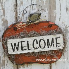Pumpkin Fall Decor Welcome Sign Harvest Decor by therustygoose, $24.95
