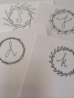 Handlettered monogram stationery by TheSimpleCityShop on Etsy