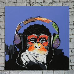 Pop Art Monkey Art Gorilla Listen Music Handpainted Oil Painting 24X32 inches Home Decoration Oil painting Wall Pictures paints Wall art 2