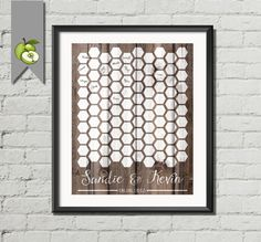 geometric wood wedding guest book poster bee by TheArtyApples