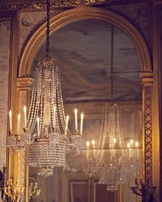 Chandelier in front of a mirror - doubles the light