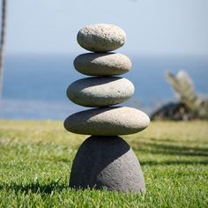 """5 part large river rocks stacked with metal rod support in middle. Size: Approx. 9"""" x 6.5"""" x 17.5""""H Weight: 38-42 lbs."""