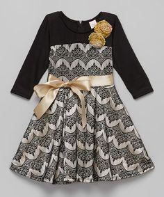 Black Chevron Bow Dress - Girls #zulily #zulilyfinds
