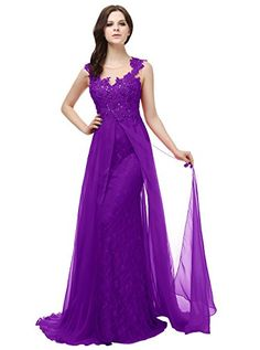 Diyouth Beaded Lace Flower Evening Prom Bridesmaid Dress with Straps Backless Purple Size 20W *** Click on the image for additional details.