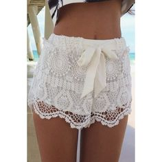 Stylish Drawstring Solid Color Lace Shorts For WomenShorts | RoseGal.com