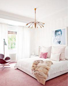 Feminine Bedroom With Fur Throw