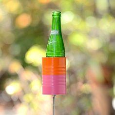 Two Tone Hobo Tin Can Beer Holder/ Garden Drink Holder- Popsicle Pink + Orange