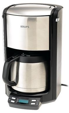 Closeout KRUPS Programmable Coffee Maker with double wall thermal carafe and LED control panel, Stainless Steel Cheapest on Maine US Thermal Coffee Maker, Best Drip Coffee Maker, Coffee Machine Best, Coffee Making Machine, Coffee Machines For Sale, Espresso Coffee Machine, French Press Coffee Maker, Coffee Shop Bar, Coffee Store
