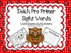 Dolch Pre Primer Sight Words Worksheets and Centers: Pre Primer Sight Word List, Seek and Code, Word Search, Memory Games, Trace the Sight Words excellent resource!!! $