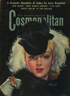 Lana Turner on the cover of the March 1942 Cosmopolitan, illustration by Bradshaw Crandall.