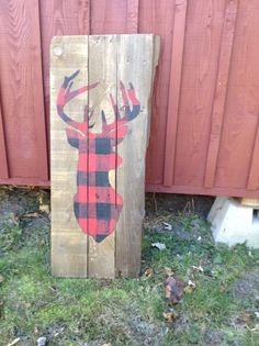 Tête cerf chevreuil à carreaux rouge et noir par Lafilleacote