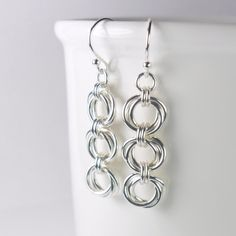 Triple Flower Sterling Silver Chainmaille Earrings Womens - Drop Earring - Sterling Silver 925 - Trio - Mobius Flower