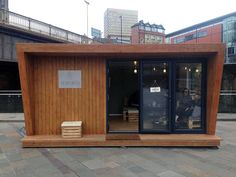 Pinnacle garden room with graphite bi-fold aluminium doors & large angled feature window, from Container Coffee Shop, Container Cafe, Container Design, Bubble Tea Shop, Pop Up Cafe, Small Coffee Shop, Coffee Van, Vietnamese Restaurant, Medieval Houses