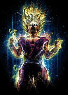 The+next+in+my+epic+Dragon+Ball+Z+inspired+portrait+this+is+my+version+of+a+teen+Gohan+going+Super+Saiyan+level+2+during+the+final+fight+with+Cell.+