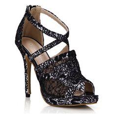 9bfbb706b Amazon.com  Lace Sandal Pumps Women Peep Toe Dress Party Stiletto Shoes  Dolphin Prom Wedding Heels SM00218  Shoes
