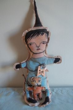 """Ooak Art Doll """"jackson & rawlie"""" 1st place. Mixed-Media by LjK.. $75.00, via Etsy."""