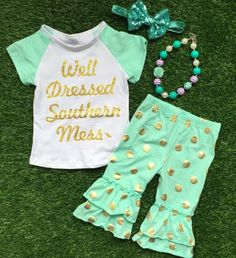 Cheap capri outfits, Buy Quality girl baby directly from China children clothing Suppliers: 2016 Summer design girls baby style hot gold dot well dressed capri outfit child clothing with matching necklace and bow Cute Girl Outfits, Kids Outfits, Kids School Clothes, Capri Outfits, My Beautiful Daughter, Design Girl, Little Girl Fashion, Matching Outfits, Little Princess