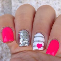 Hot Pink, White and Silver Mani