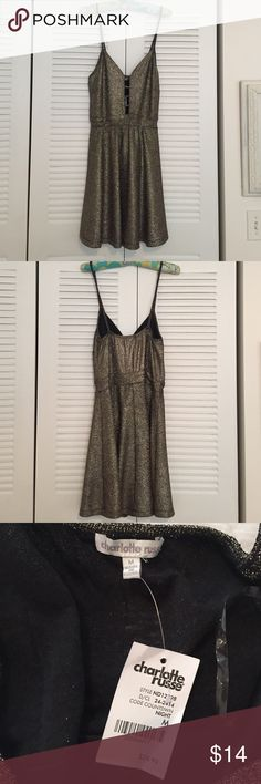 Glitter Dress From Charlotte Russe. Size Medium. New with tags. Black and gold glitter dress Charlotte Russe Dresses Mini