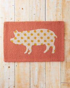 Pig Silhouette Hooked Wool Rug   Faith, Hope, Love, and Luck Survive Despite a Whiskered Accomplice