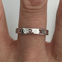 Sterling Silver XOXO CZ Eternity Stackable Band