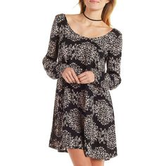 Charlotte Russe Motif Printed Shift Dress ($25) ❤ liked on Polyvore featuring dresses, black combo, sun dress, holiday dresses, floral dress, floral cocktail dress and black shift dress