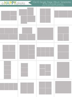 10 x 10 Album einfache Vorlagen Fotografen von ahappyphoto auf Etsy