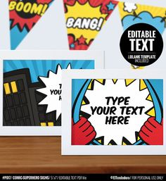 Comic-Superhero party signs  Printable and Editable by eltendedero