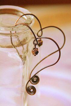 Swirly Copper Heart Hoop Earrings with por AllowingArtDesigns, $14.00