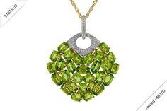 Women's Diamond & Peridot Necklace in 14K Yellow Gold (12.14 ctw)
