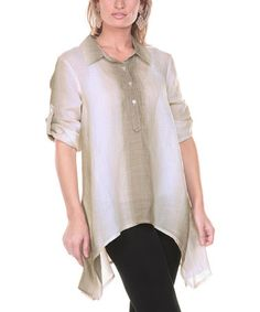 Look what I found on #zulily! Mocha Ombre Stripe Linen Sidetail Tunic - Women & Plus #zulilyfinds