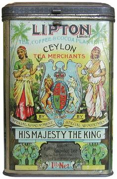 Lipton Ceylon Tea Merchant by special appointment- His Majesty The King Tea Tin. by teacaddy. Objets Antiques, Nanu Nana, Pot Pourri, Deco Retro, Tea Tins, Tea Canisters, Vintage Packaging, Packaging Design, Vintage Tins