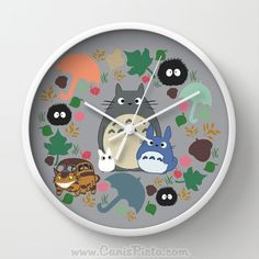Totoro Catbus Soot Sprite Wall Clock in Natural Wood, Black, or White