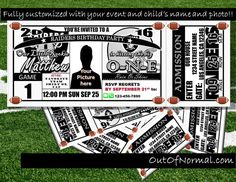 Oakland Raiders Themed Birthday Invitation Tickets by OutOfNormal