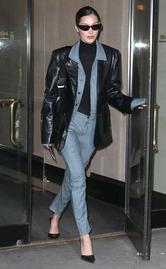 Bella Hadid Rocks Denim & Leather for Modeling Agency Visit: Photo Bella Hadid wore a chic denim-on-denim look while stopping by her modeling agency's office! The model was spotted visiting IMG Models on Monday (February… Outfits Otoño, Model Outfits, Fashion Outfits, Blazer Outfits, Bella Hadid Outfits, Bella Hadid Style, Winter Fits, Leather Blazer, Model Agency
