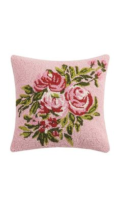 Pink Floral Wool hooked pillow, with cotton velvet backing. Designed by Bari J.Dimensions x Pink Pillows, Velvet Pillows, Dyi Crafts, Printed Linen, Cotton Velvet, Handmade Pillows, Bari, Wool, Girl Room