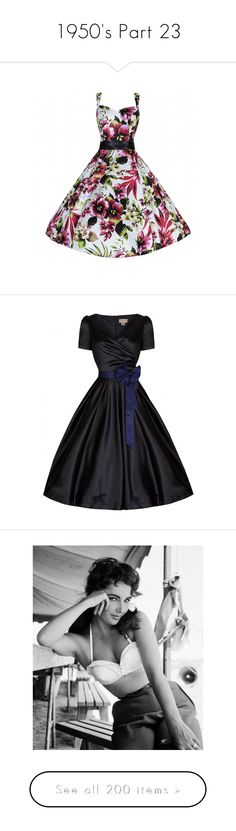 """""""1950's Part 23"""" by leanne-mcclean ❤ liked on Polyvore featuring dresses, lilies, pink, white evening dresses, cocktail dresses, white dress, evening dresses, white party dresses, black and flare dress"""