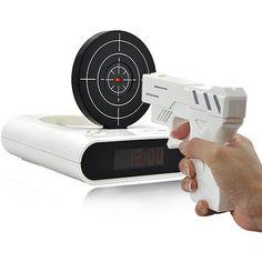 Gun Alarm Clock #giftsformen Psh, forget for men, I would love it!