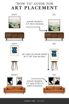 """""""HOW TO"""" GUIDE FOR ART PLACEMENT 4 mistakes you might be making when hanging art. A how to guide for artwork placement - how high to hang art and how far apart. Interior Design art hanging rules by Refined Design.High High may refer to Diy Design, Home Design, Design Art, Design Styles, How To Design, Design Ideas, Design Basics, Design Blogs, Shelf Design"""