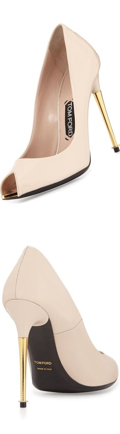 LOOKandLOVEwithLOLO: Tom Ford Fabulous Accessories  Tom Ford V-Cut Peep-Toe Patent Pump, Nude (patent leather with golden heel and rivet detail)