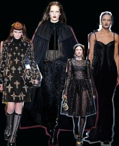 Gothica  Black lace, capes, and crosses were just some of the items to hit the Milan runways, which had a love affair with all things gothic this season.  Left to right: Versace, Gucci, Dolce & Gabbana, Bottega Veneta