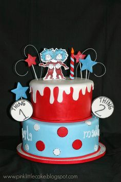 Dr. Seuss Cake Thing 1 and 2